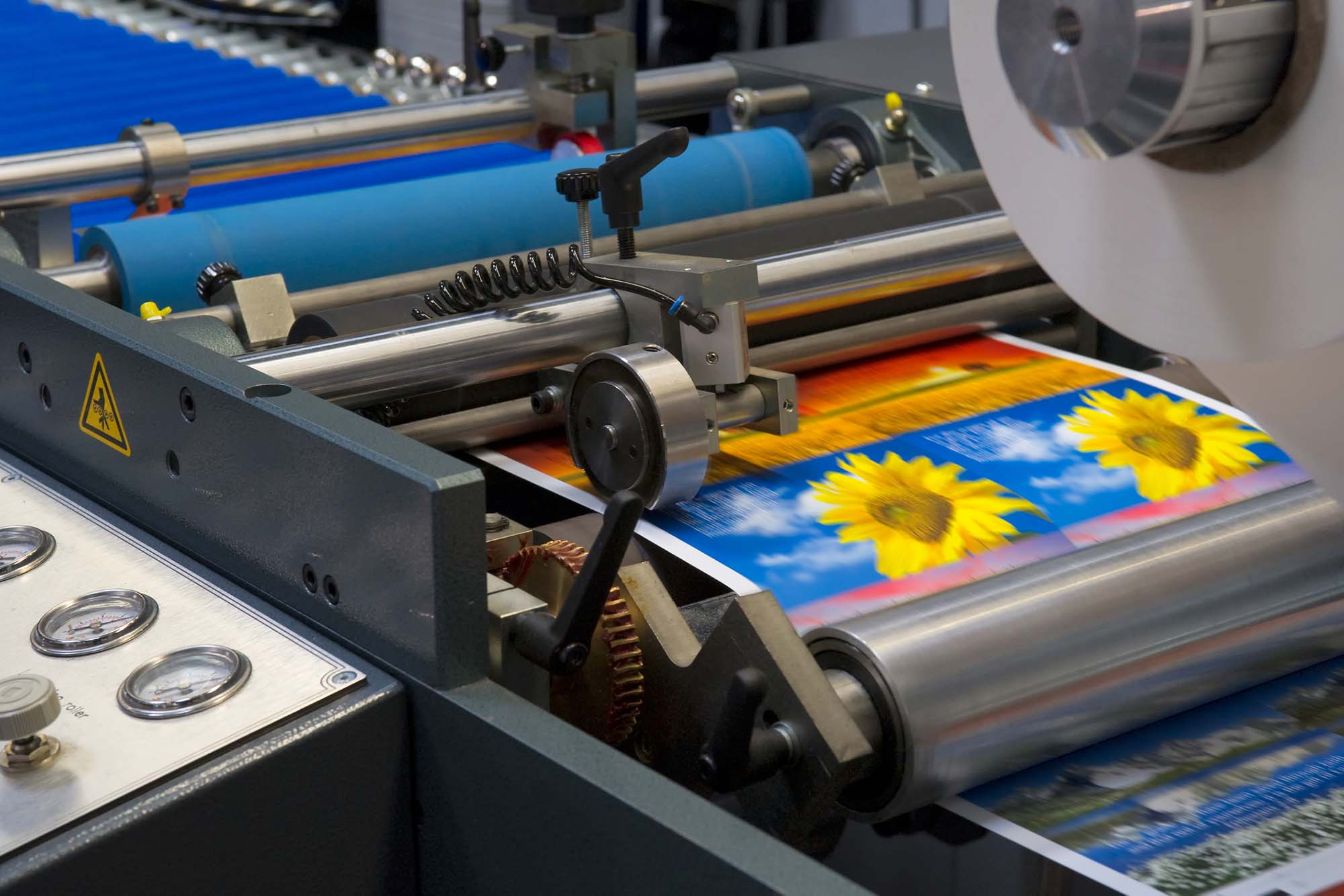 Large rolling printing press